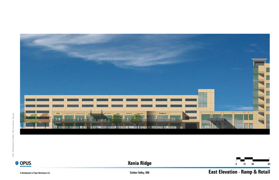 East Elevation of Retail/Parking Wing