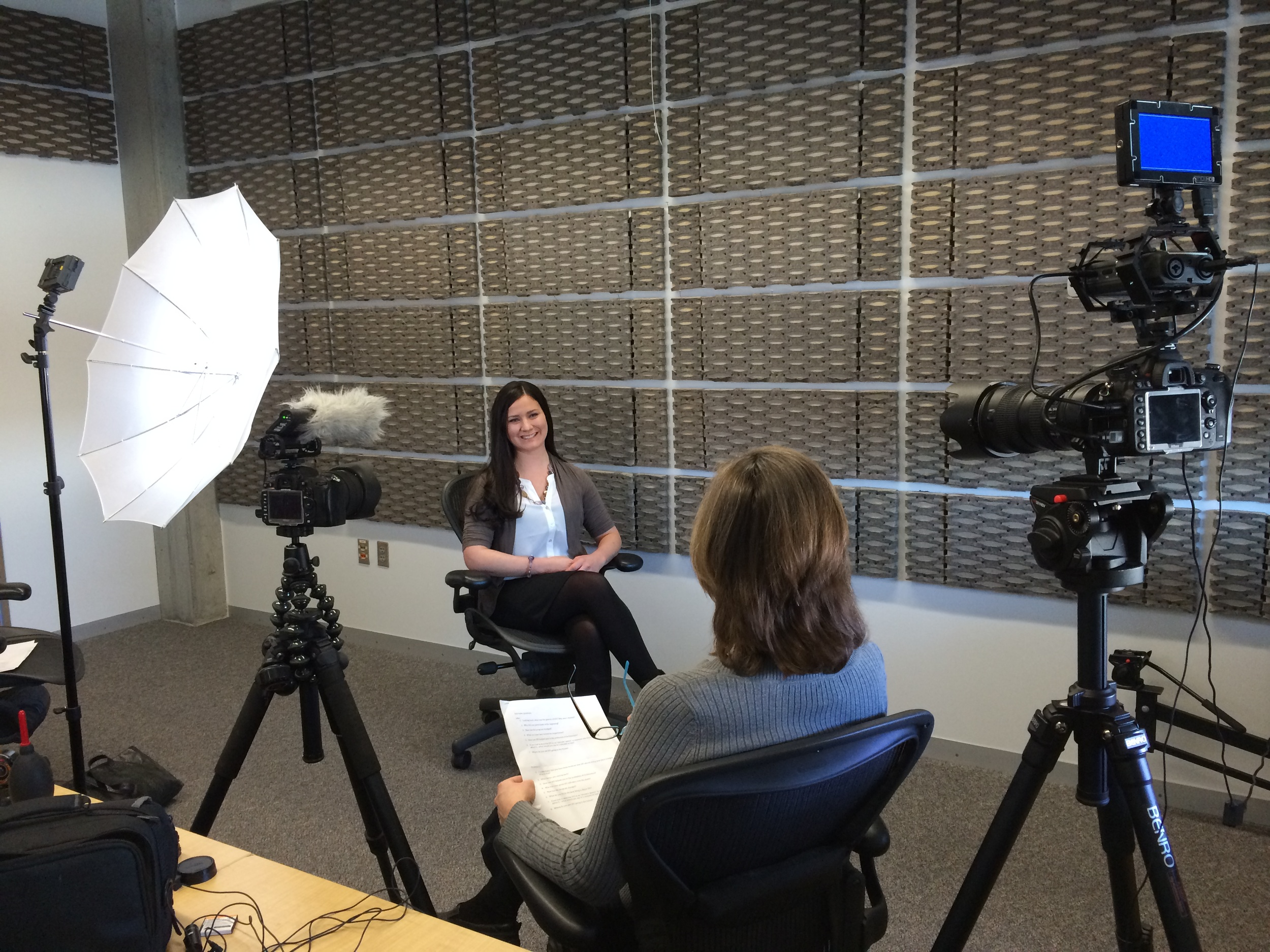 """Jennifer Hilla Schlag being interviewed by Mary Larkin  for """"The Search for Shelter Charrette"""""""