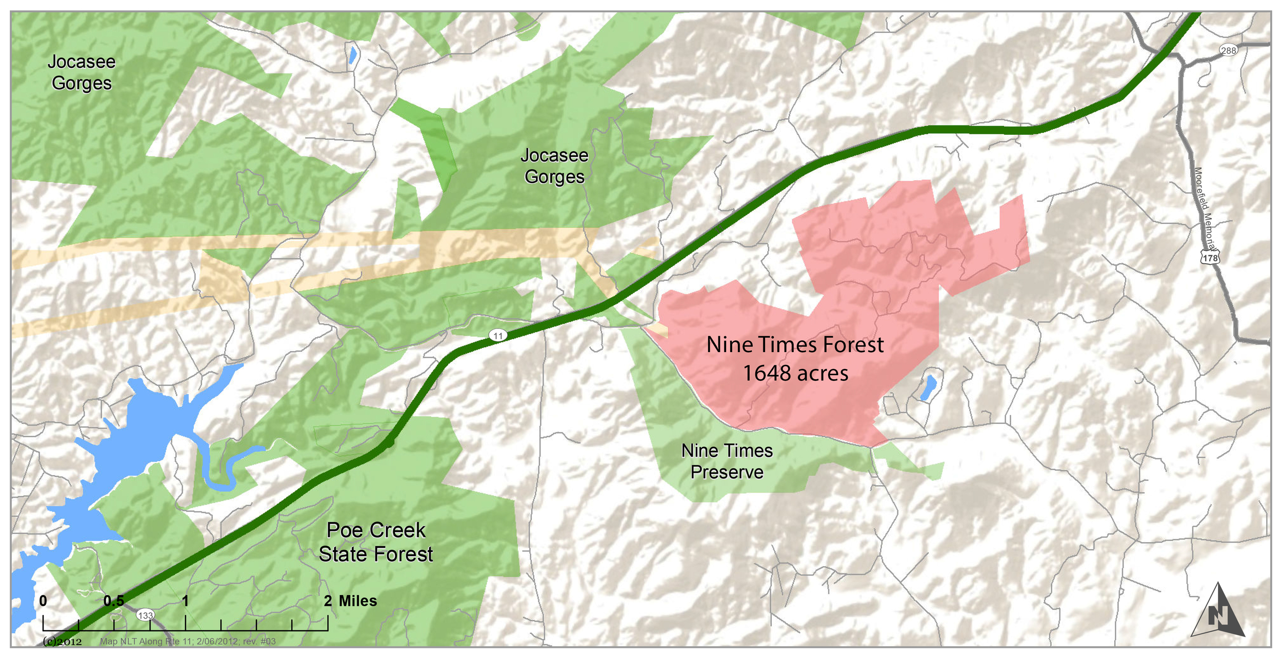 The Nine Times Forest adds a significant piece to the existing matrix of protected lands in Pickens County along Highway 11.
