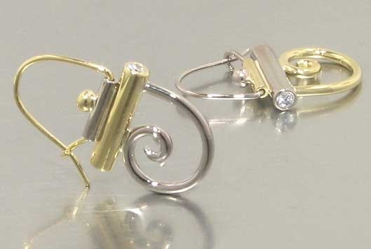 "Style #22110421: Diamond ""Parts"" Earrings, 18KY & 18KW Gold"