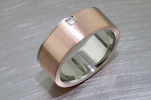 Item #21110064: Wide Two-Tone Brushed-Finish Band with Diamond Accent and High Polish Interior, 14kt Rose Gold & Palladium