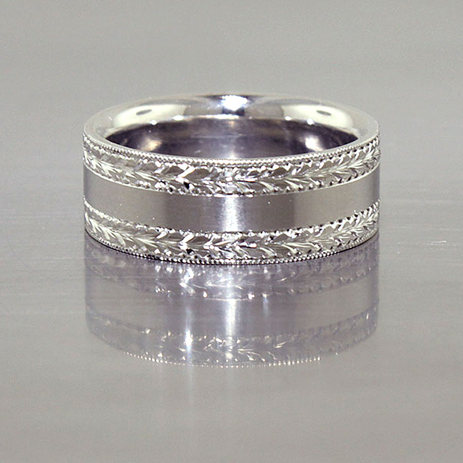 Item #21010120: Hand-Engraved Band with Matte-Finished Center, Palladium