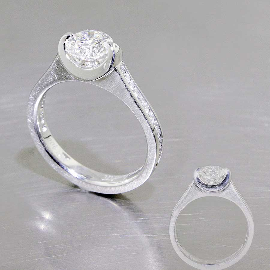 Style #22010492: Mock-Tension 1.03ct Diamond Ring w/ Channel-Set Side Diamonds, Platinum