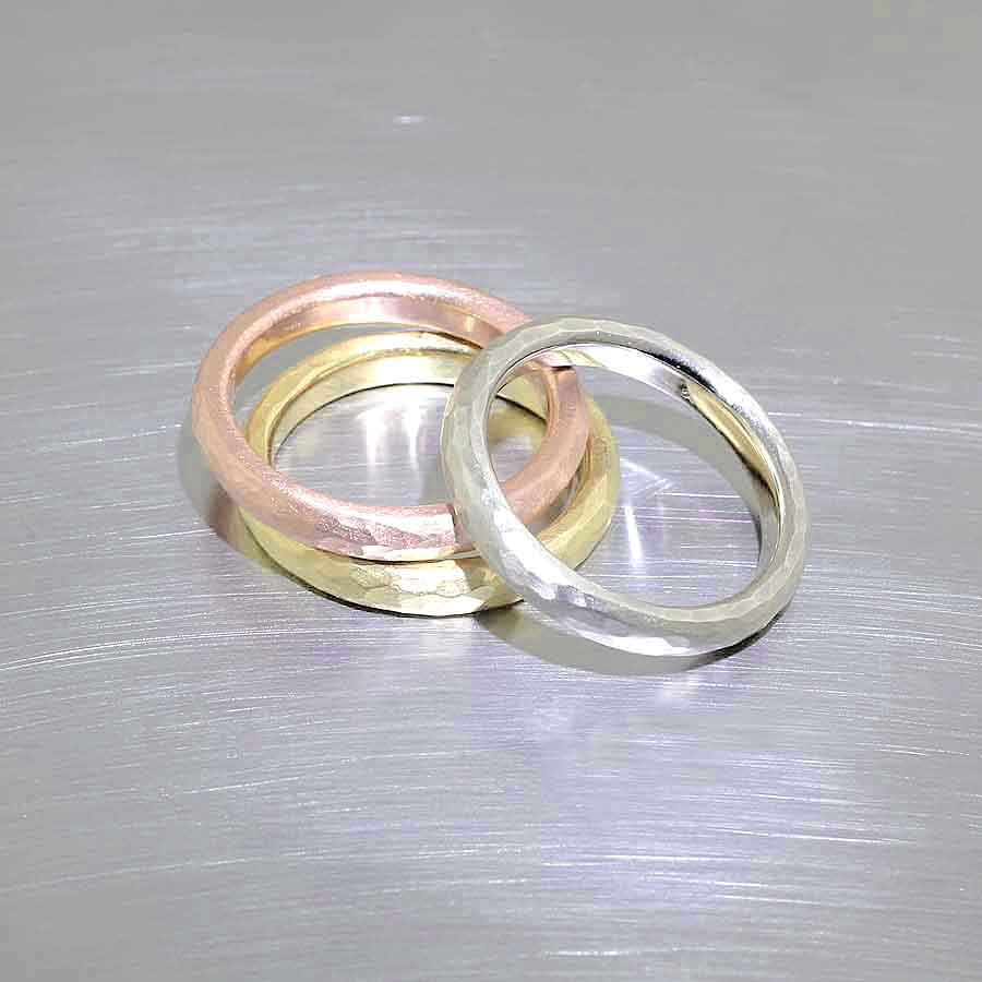 yellow, white and rose gold hammered bands