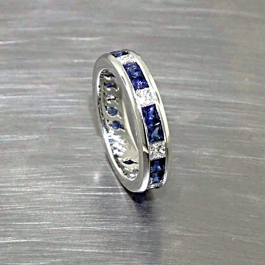 Style #11110258: Princess-Cut Sapphires & Diamonds in Channel-Set Platinum Band