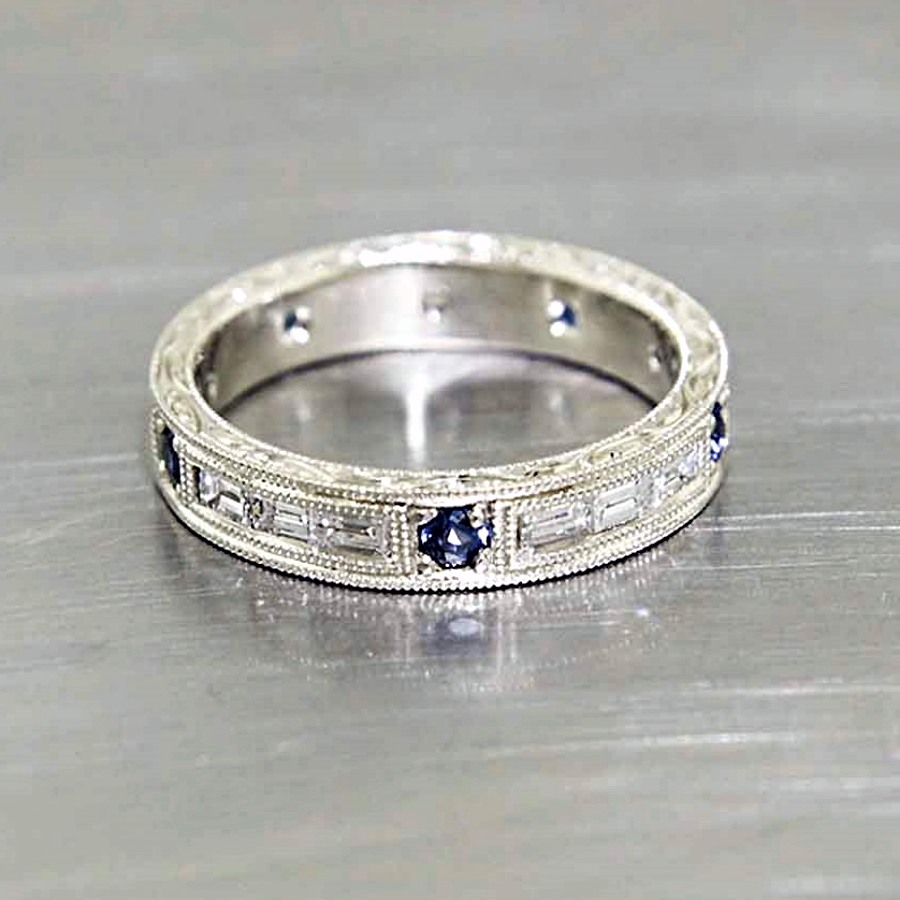Style #10111897: Hand-Engraved Sapphire & Baguette Diamond Band in White Gold