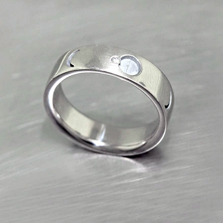 """Style #11010772: White Gold """"Lunar Eclipse"""" Band w/ Sparkling Diamond Accent"""