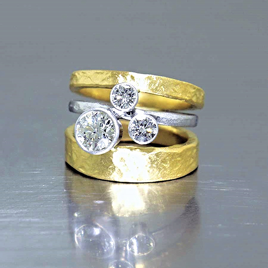 Style #10111890: Sculptural Tri-Band Diamond Ring in Hammered Platinum & 22KT Gold