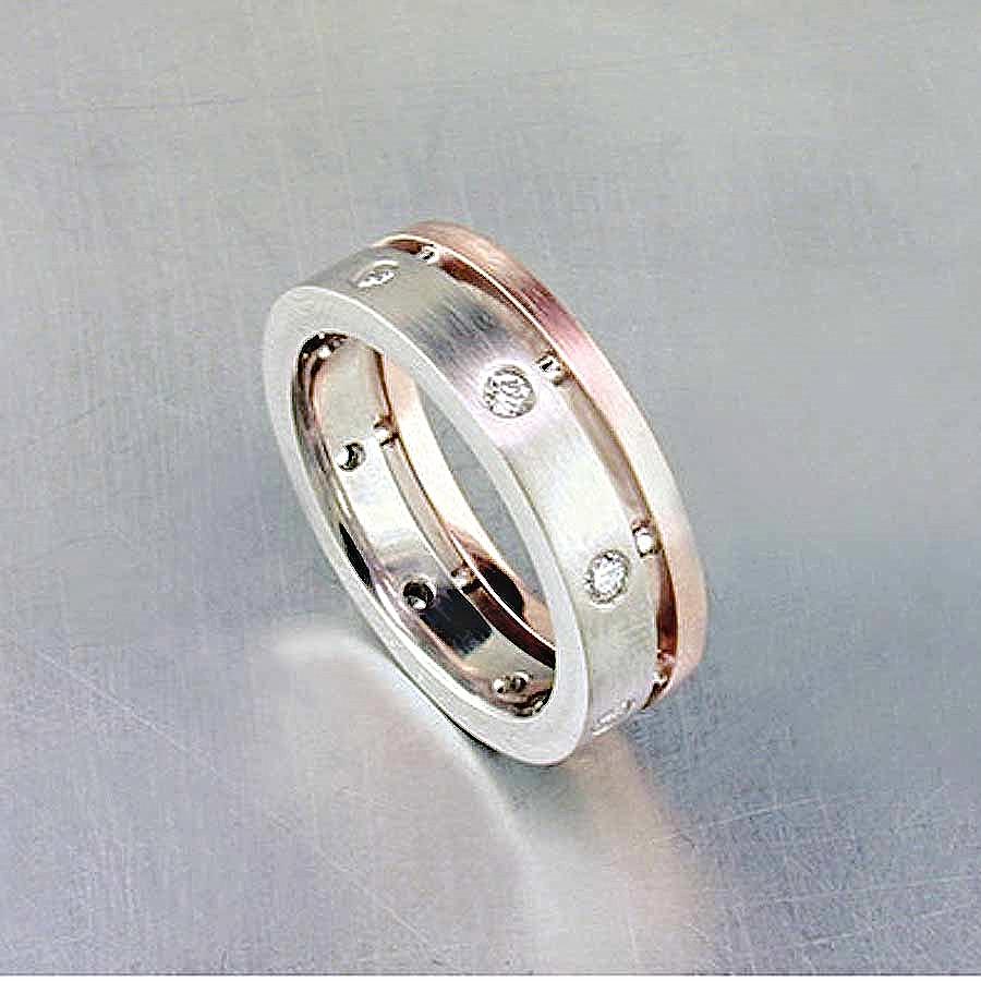 Style #11110053: Open Channel Band w/ Flush-Set Diamonds in Palladium & Rose Gold