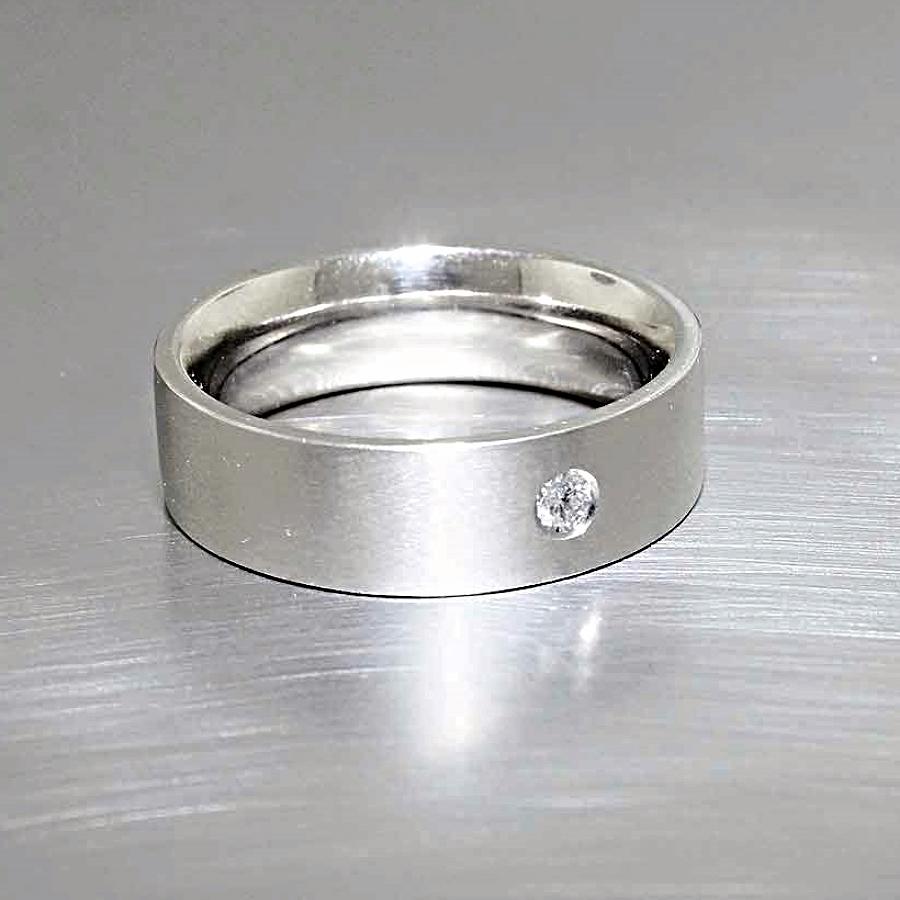 Style #21110073: Single Flush-Set Diamond Band in Matte-Finished White Gold