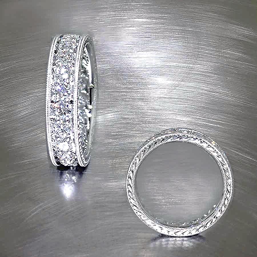 Style #11110223: Hand-Engraved Platinum Diamond Eternity Band