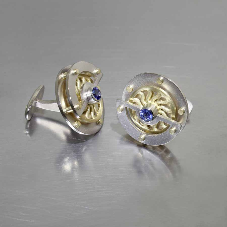 """Style #28510007: Sapphire Rotating """"Pinwheel"""" Cuff Links, 18KY & 14KW Gold"""