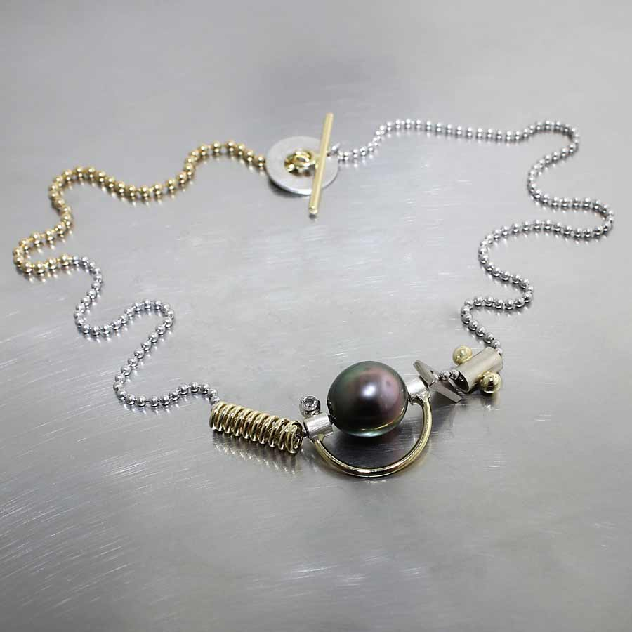 "Style #70010146: Two-Tone ""Parts"" Collection Necklace w/ Dark Purple Tahitian Pearl & Diamonds, 18KY & 14KW Gold"