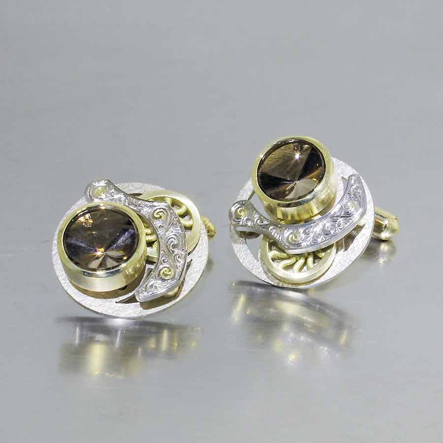 """Style #28510010: Steampunk """"Moving Parts"""" Cuff Links Featuring Round Mirror-Cut Smoky Quartz, 18KY/14KW Gold"""
