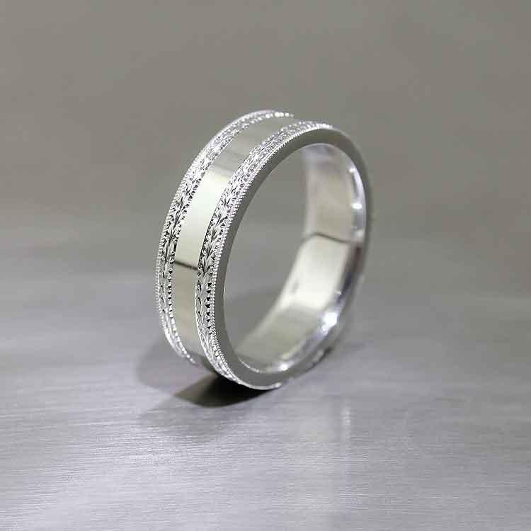 Hand-Engraved Comfort Fit Band, Platinum