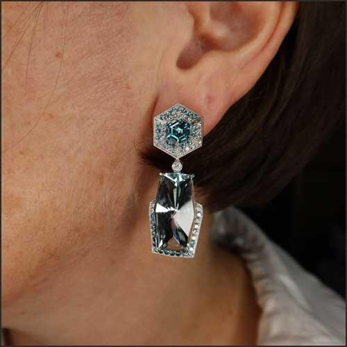 Details about  /Meher/'s Jewelry SS Blue Topaz /& White Zircon Gemstone White Rhodium Stud Earring