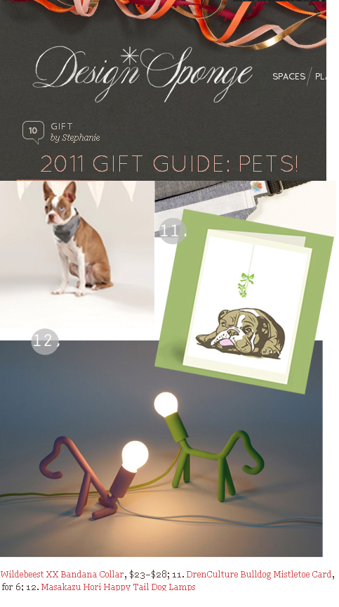 """Bulldog and Mistletoe"" card featured in Design*Sponge's Pet Gift Guide"