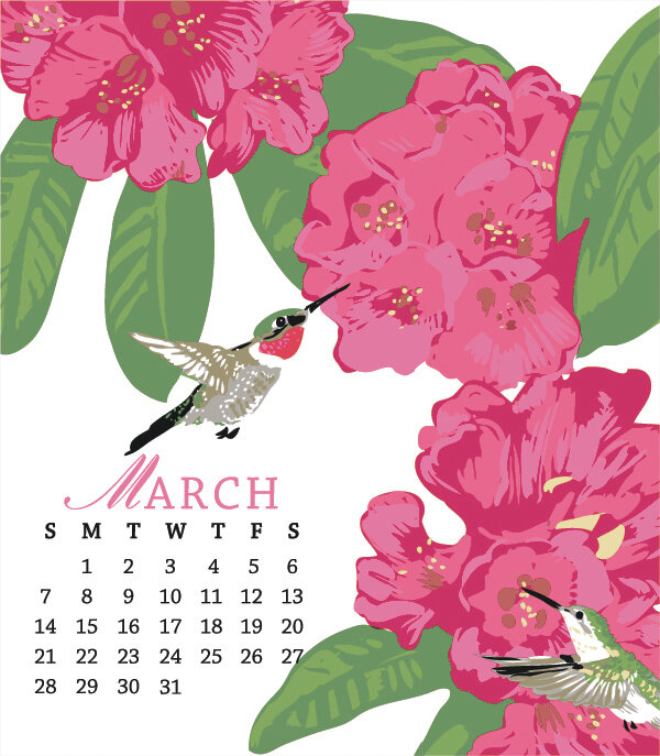 March 2021 Desktop Calendar INSERTS ONLY: 2021 Bird and Gardens Letterpress Desktop Calendar