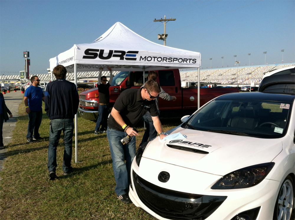 Setting up in the Daytona Infield