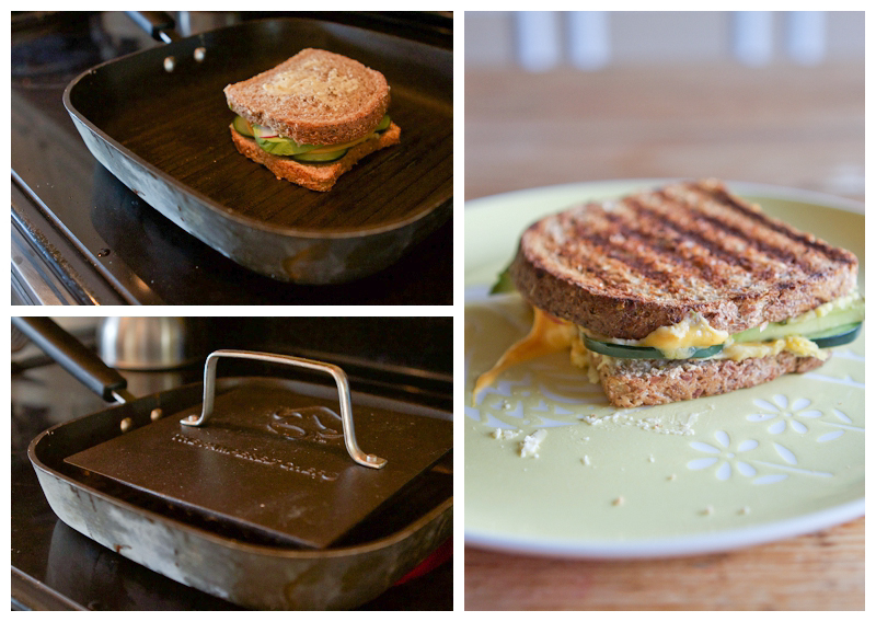 Grille with a panini press (mine is Pampered Chef) until golden brown on each side with melted cheese.