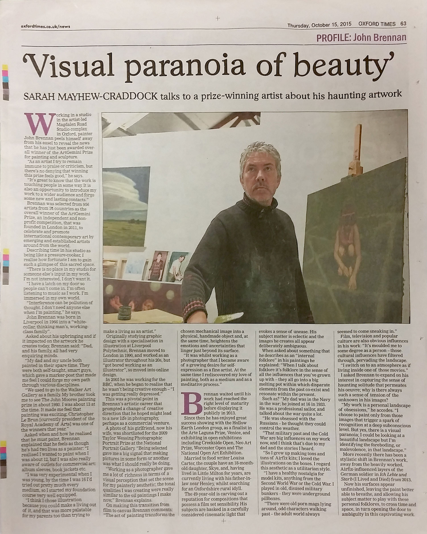 Profile of artist, John Brennan - The Oxford TImes, 15th October 2015