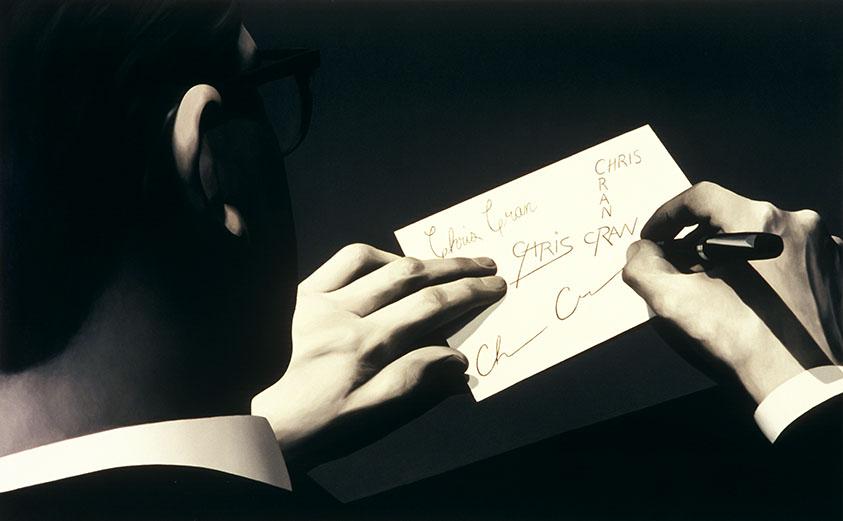 Self-Portrait Practicing Signatures