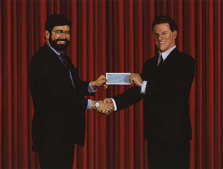 "Self-Portrait Accepting A Cheque For The Commission Of This Painting | Oil on canvas | 102.5""  x  96"" 