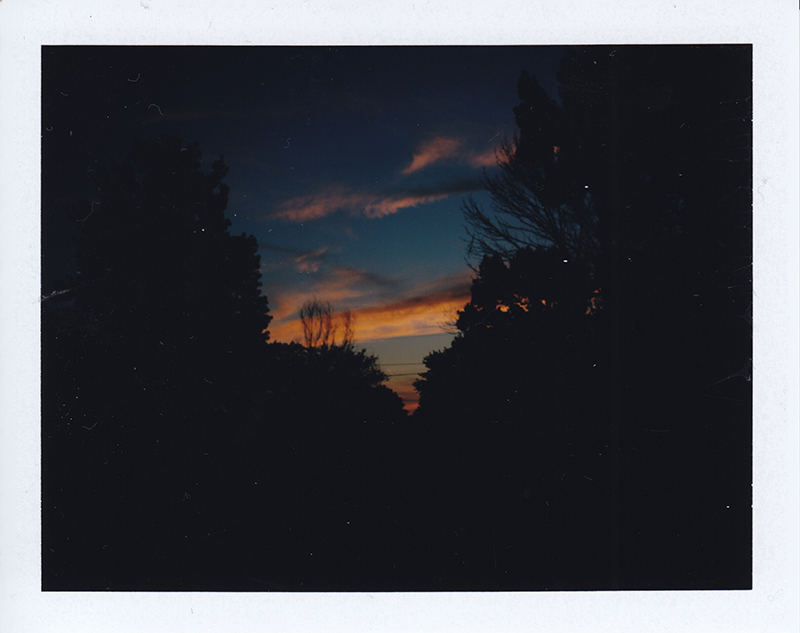 The sunset outside my house. (A little dusty from my scanner)