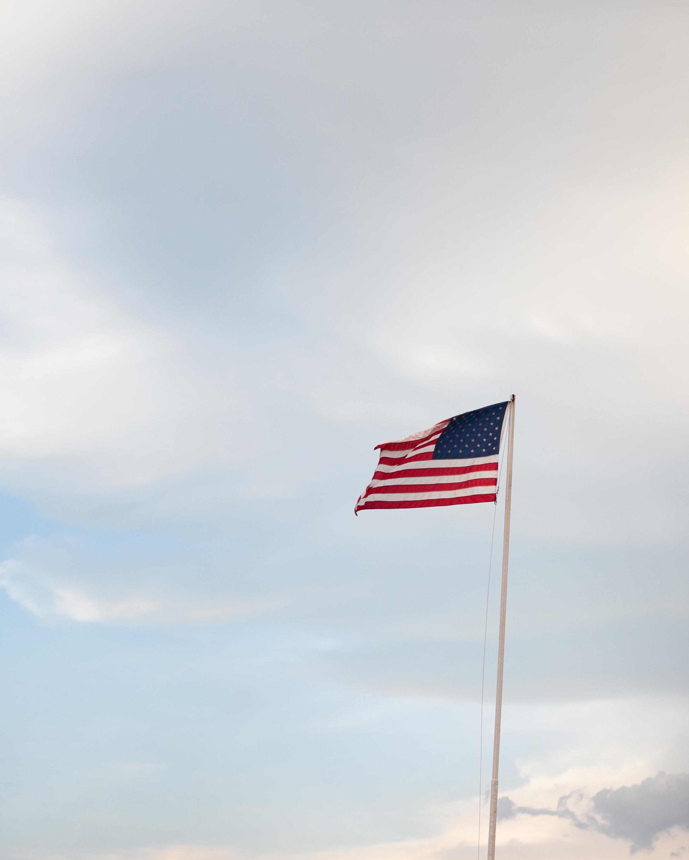 flag at dusk print