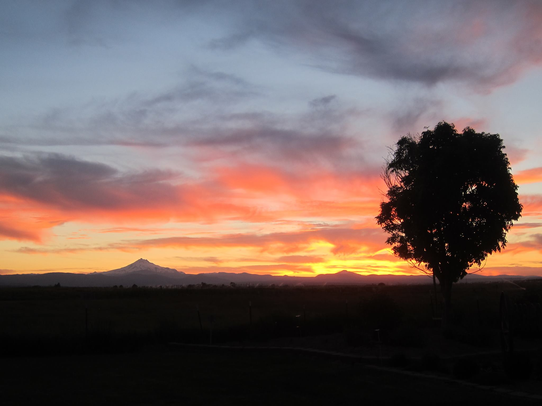 End to a great day- sunset from Lola and Mark's home, Mt Jefferson