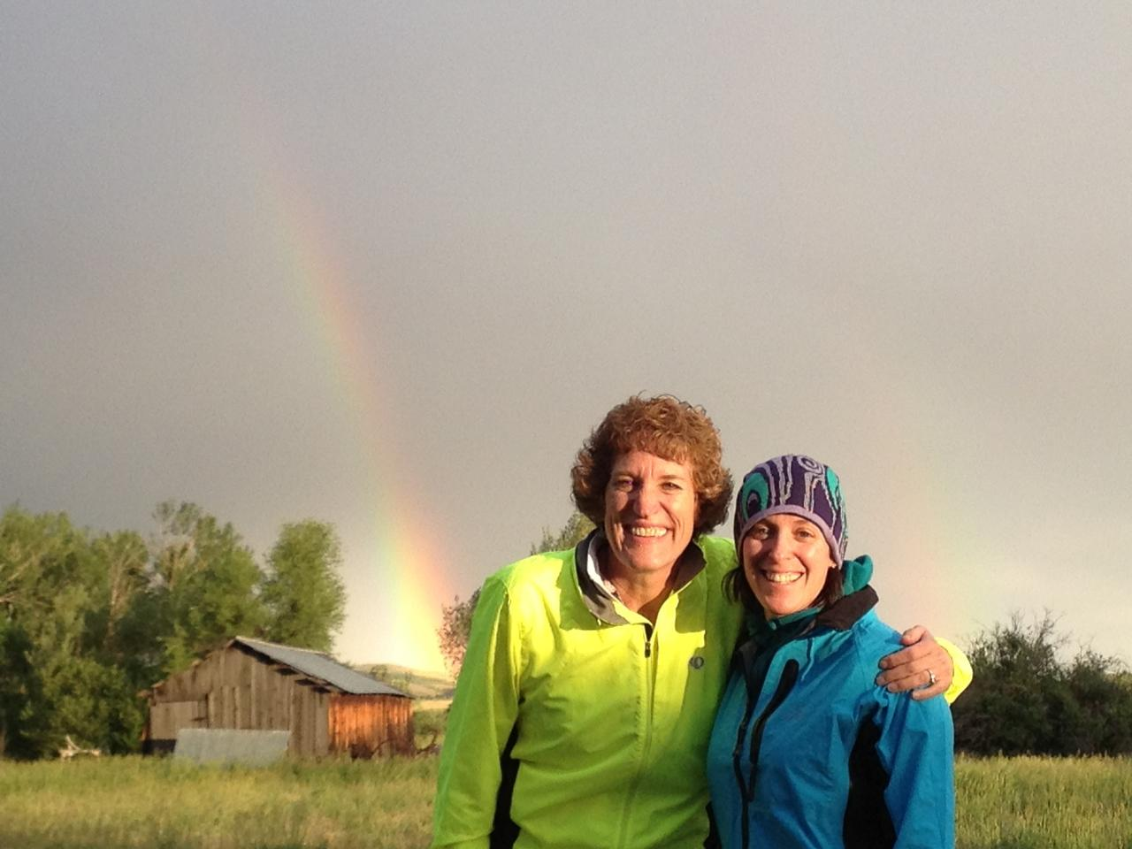 Rhonda, a colleague and good friend meets me to ride for 2 days! First rain and a double rainbow!