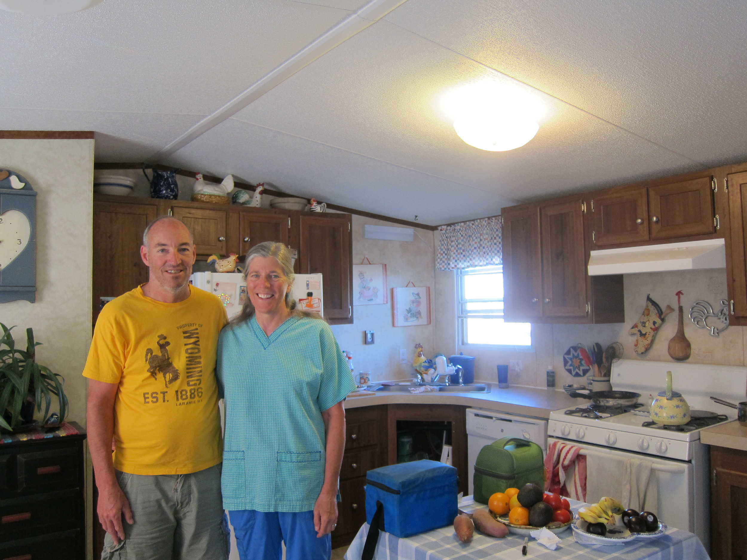 Kevin and Lucy, my wonderful hosts in Rawlins WY! Just look at all those fruits and veggies!