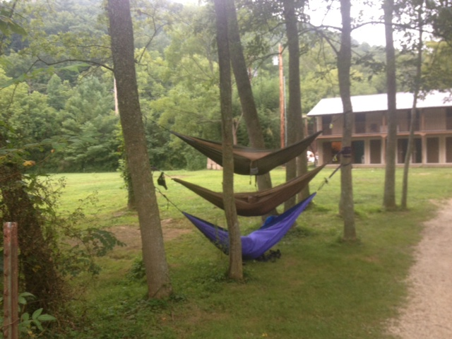 Three rock climbers slept like this in their hammocks in campground- thought it was hilarious!