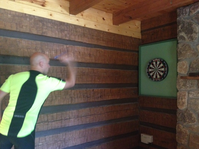 Darts! Yesterday included cycling, darts, swimming, basketball and eating, of course.