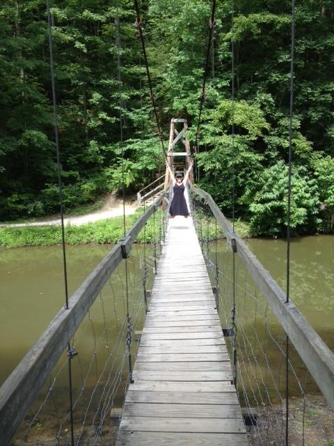 Suspension Bridge before swimming.