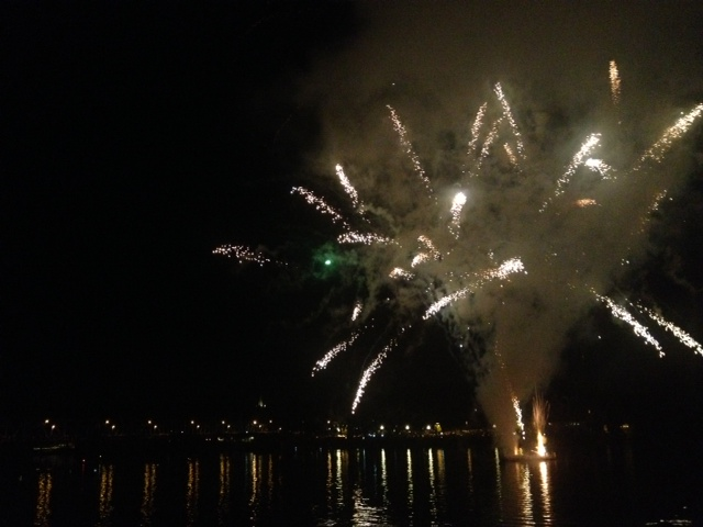 Fireworks over the Delaware River.