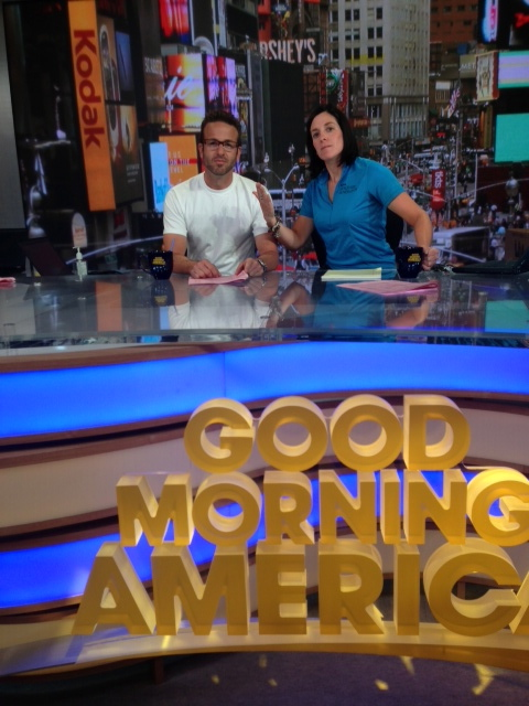 Paul and I posing as anchor people at GMA!