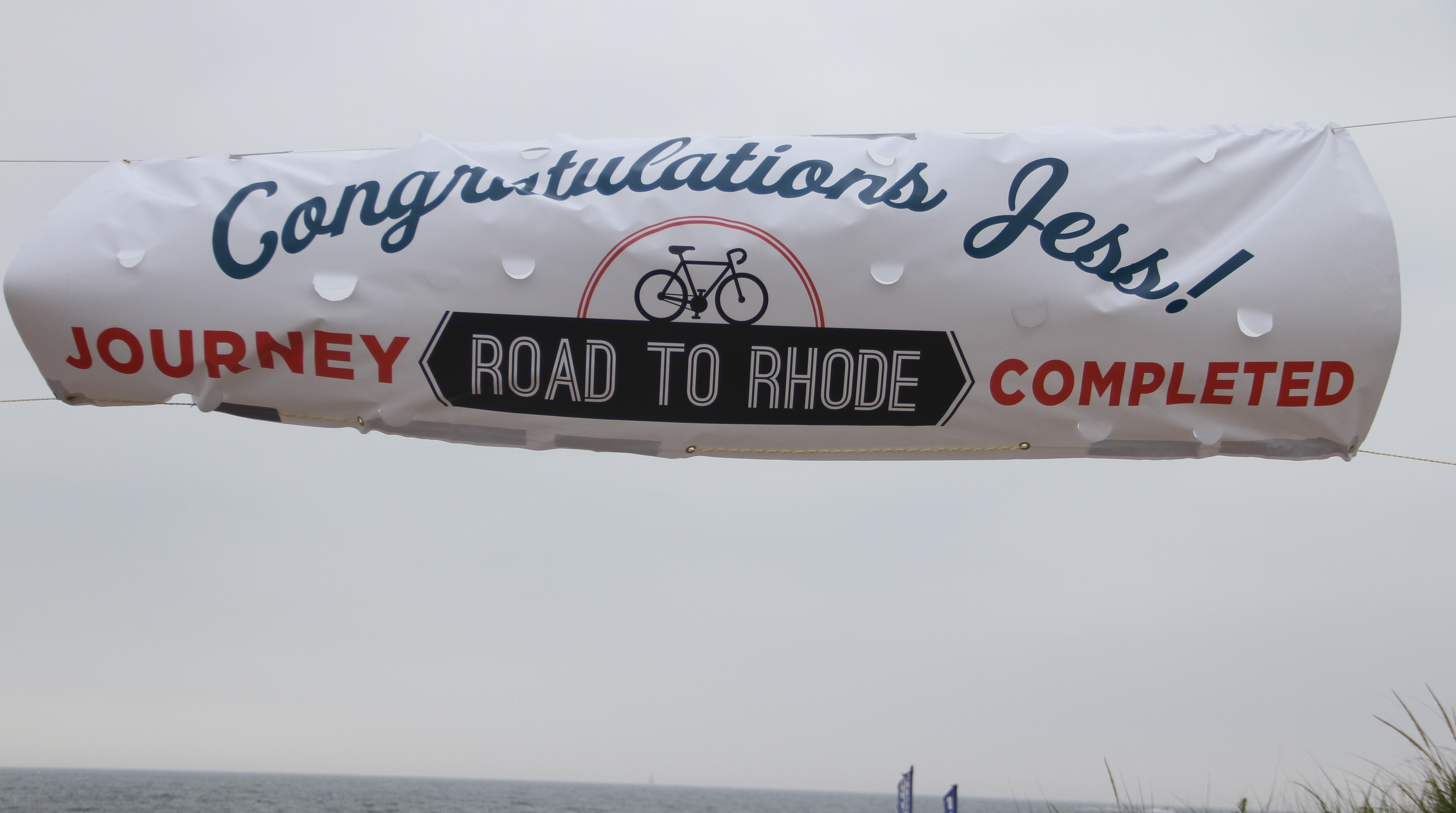 The banner- the first thing I saw when riding up the beach.