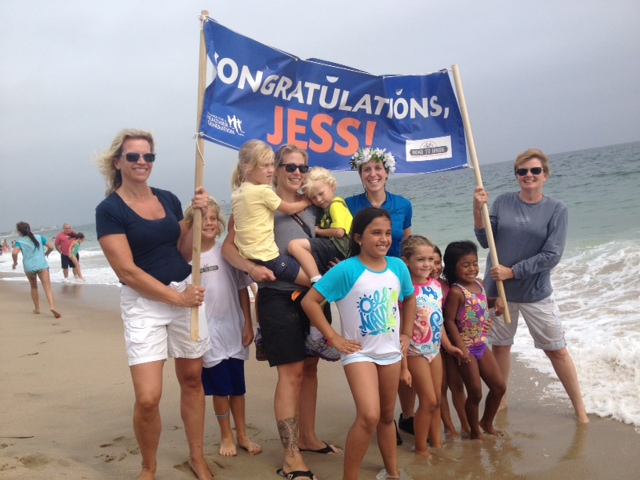 Kids excited to learn about my trip and Alison and her kids! Amy and Brenda holding the banner- neighbors/friends of ours near the beach house here in RI!