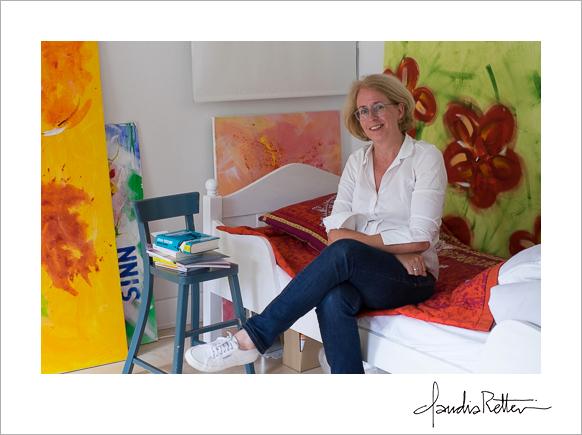 Katja and her paintings.