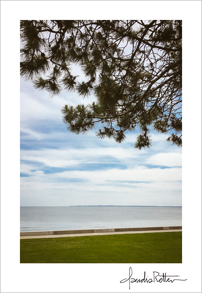 Under a pine tree at the Perry Monument, Put-In-Bay, Ohio.