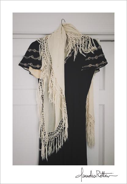 Vintage dress and shawl
