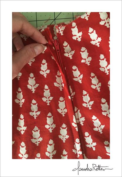 Altering a thrift store skirt.