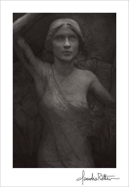 Angel above. Montmartre cemetery, Paris