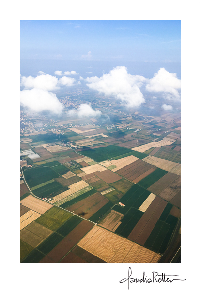 Aerial view of the fields of Italy