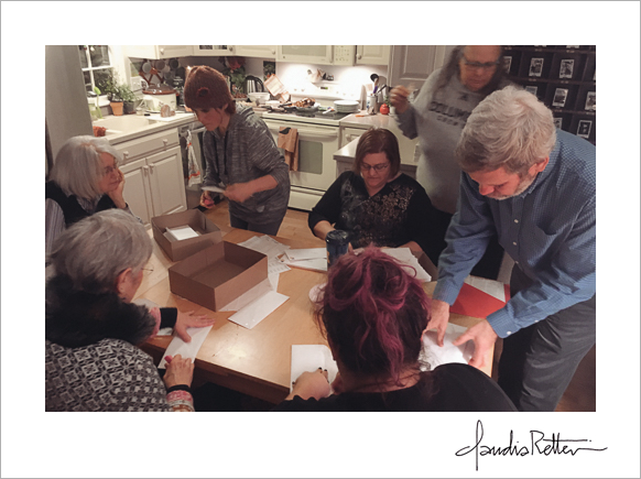 The Magpie Consort stuffing envelopes