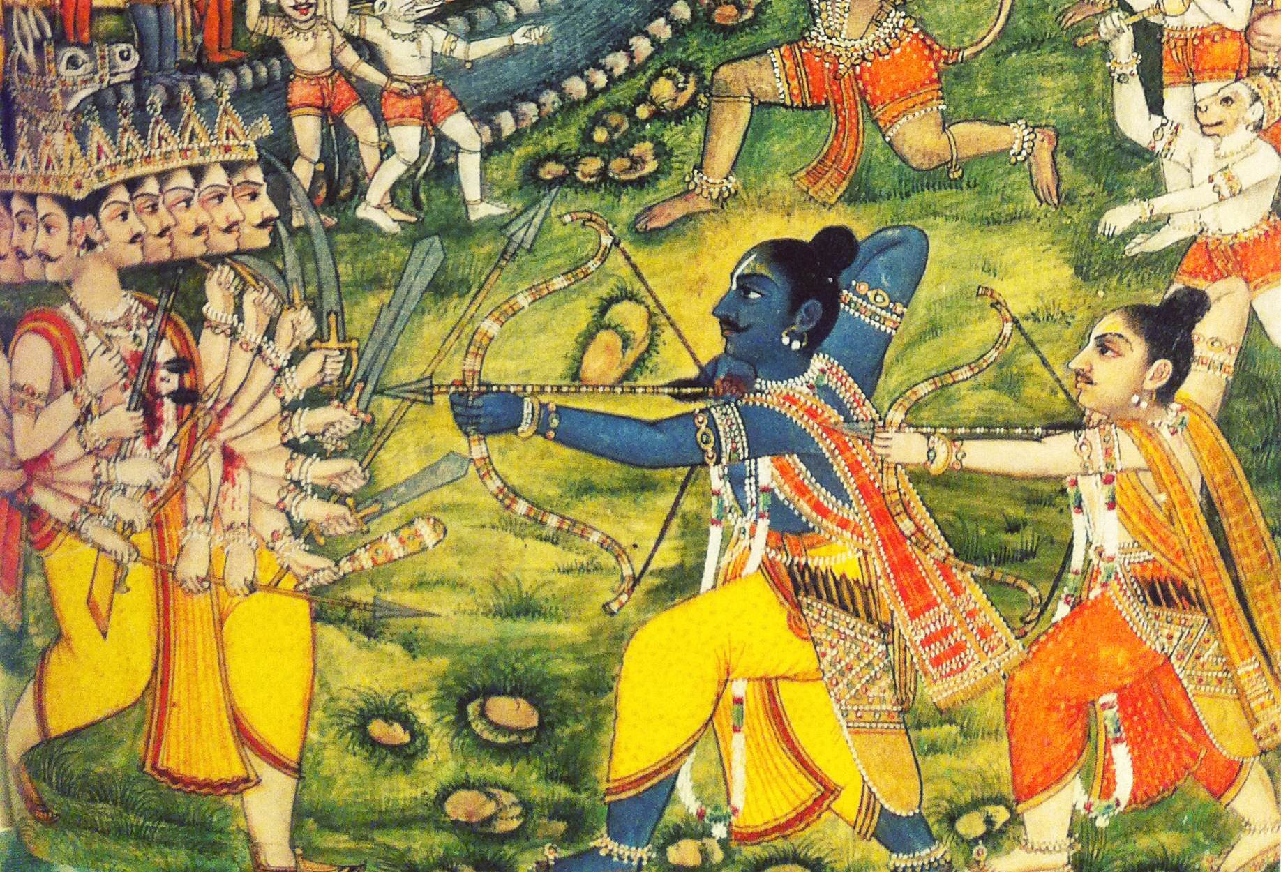 A depiction of Rama defeating Ravana in battle. Indian miniature. From Ranchor Prime's   Ramayana: A Journey  .