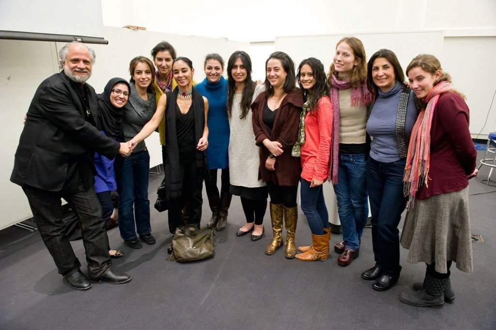 Shirin Neshat at Harvard's Graduate School of Design, being greeted by Homi Bhabha; along with  Women in Design Caroline James, Sara Tavakoli, Hana Disch, Maria Galustian and  MIIM Design's  founder Maryam Eskandari