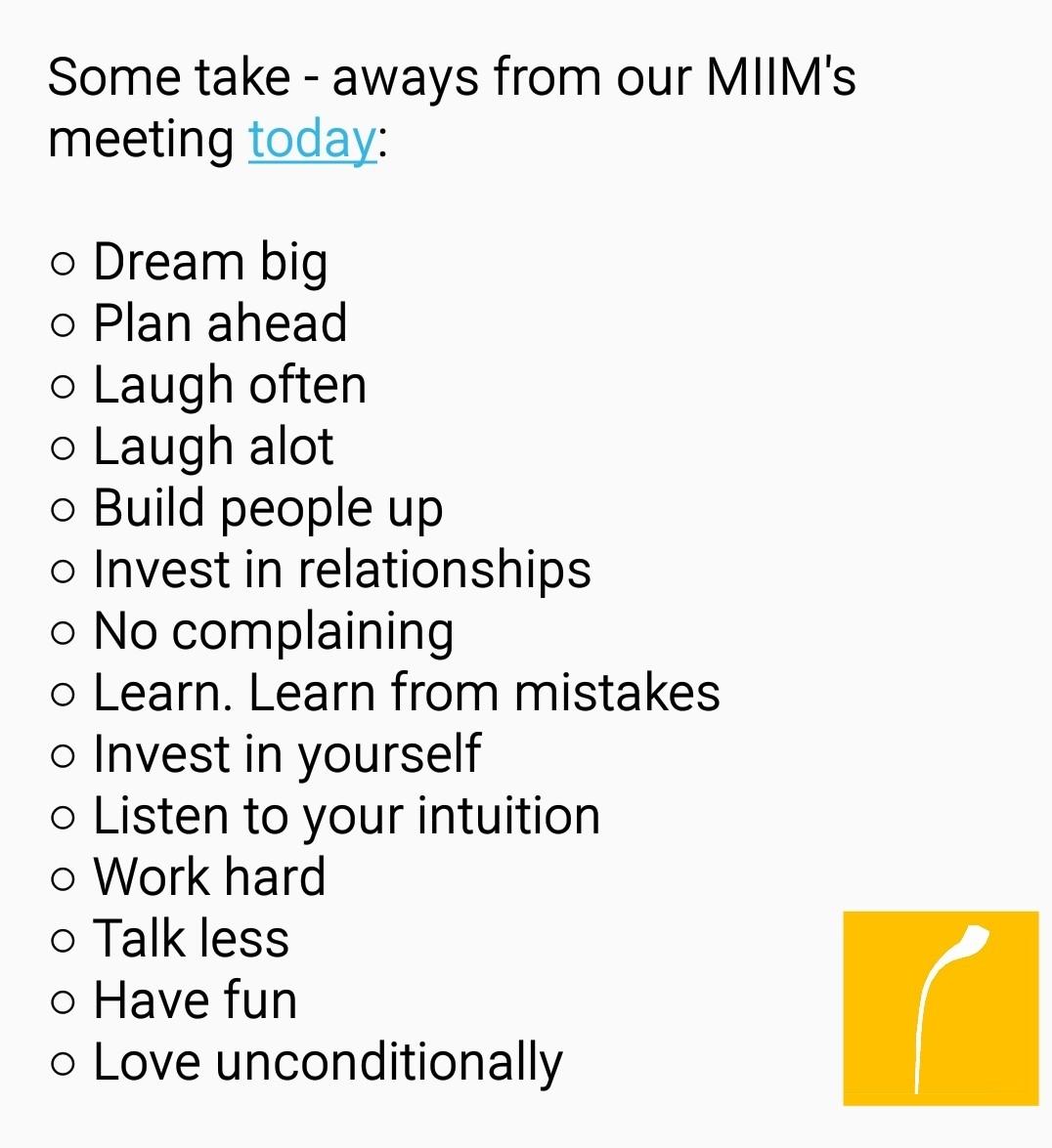 Our MIIM Team values.