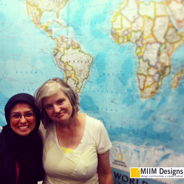 "MIIM Designs founder, Maryam Eskanari, with PRI ""The World""Senior Producer Carol Hill in the studio"